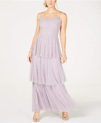 Adrianna Papell Embellished Tiered Gown