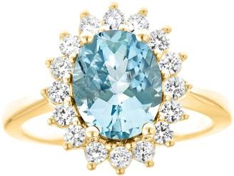 14K Gold 1.80 cttw Oval Aquamarine Halo Ring