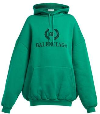 Balenciaga Bb Logo Cotton Blend Hooded Sweatshirt - Womens - Green
