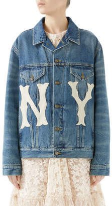 Gucci Stone-Washed Denim Jacket with NY Yankees MLB Patch