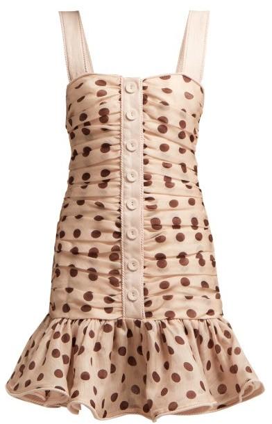 Zimmermann - Corsage Polka Dot Linen Blend Mini Dress - Womens - Light Pink