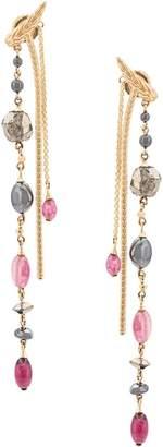 John Hardy Adwoa Aboah 18kt Yellow Gold, Hematite, Rubellite, Stone And Pink Tourmaline Chain Earrings