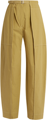 High-rise wide-leg cotton cargo trousers