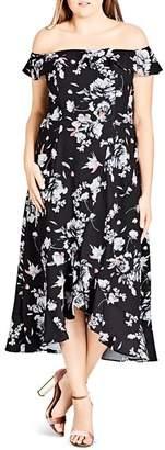 City Chic Plus Off-the-Shoulder Floral-Print Dress