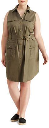 Lauren Ralph Lauren Plus Stretch Twill Utility Dress