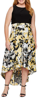 BLU SAGE Blu Sage Sleeveless Floral High Low Evening Gown-Plus