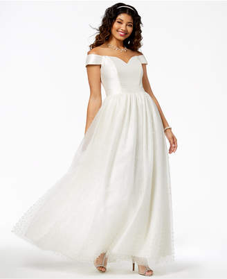 Say Yes to the Prom Juniors' Imitation-Pearl-Embellished Gown, Created for Macy's