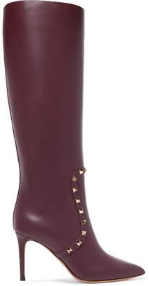 Valentino Garavani The Rockstud Leather Knee Boots - Burgundy