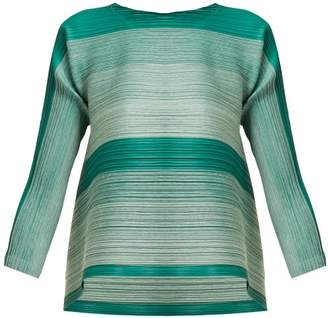 Pleats Please Issey Miyake Log Bounce Striped Tech Pleated Tunic Top - Womens - Green