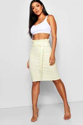 boohoo Gingham Crepe Paperbag & Tie Midi Skirt
