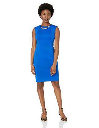 Calvin Klein Women's Petite Sleeveless Sheath with Chain Necklace Dress
