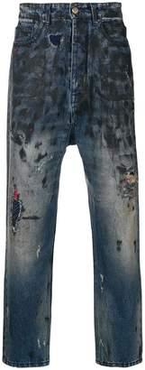 Paura distressed straight-cut jeans