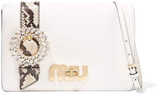 Miu Miu My Miu Embellished Watersnake-trimmed Textured-leather Shoulder Bag - White