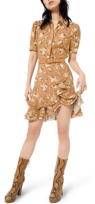 Michael Kors Short-Sleeve Ruffled Floral-Silk Shirtdress w/ Belt