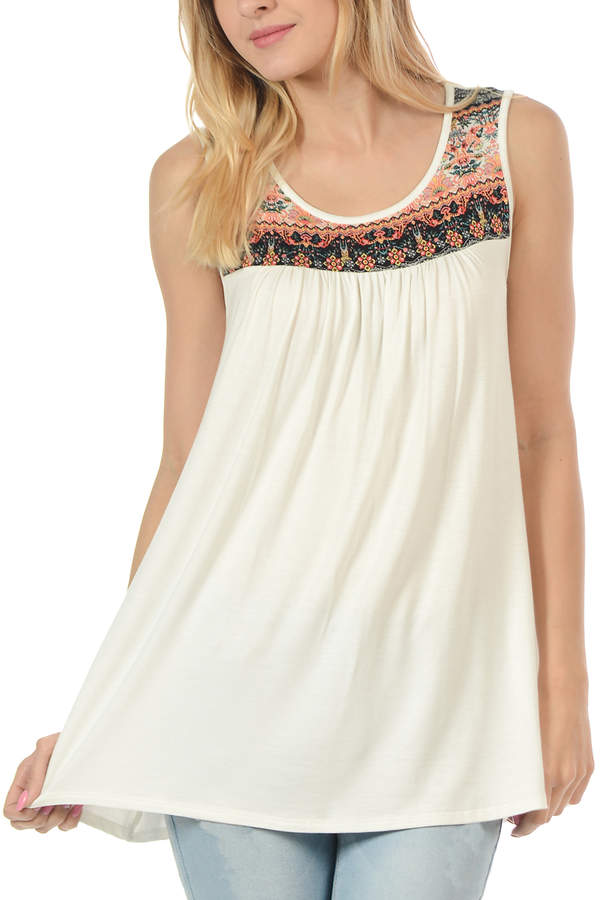 Ivory & Coral Embroidery Scoop Neck Tank - Women