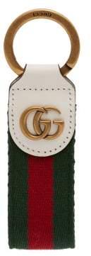 Gucci Gg Web Striped Keyring - Womens - White Multi