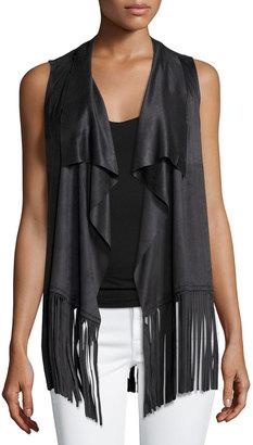 Design History Fringed-Hem Faux-Suede Vest, Onyx $79 thestylecure.com