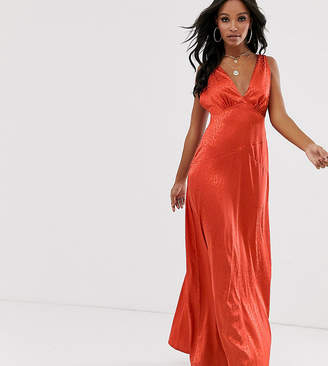 304044056 Flounce London minimal satin maxi dress in rust