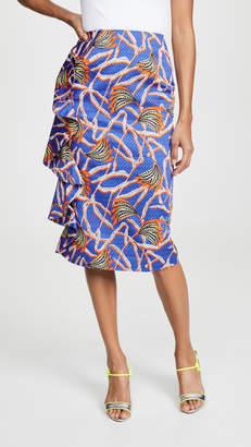 Stella Jean Palm Print Midi Skirt