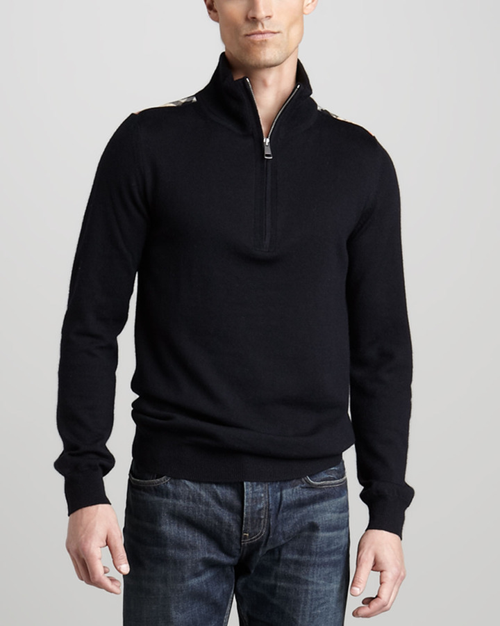 Burberry Brit Half-Zip Wool Sweater, Mid Gray Melange