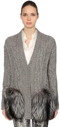 Ermanno Scervino Wool Blend Cable Knit Cardigan W/ Fur