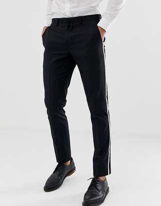 Burton Menswear tuxedo suit pants with tipping in white