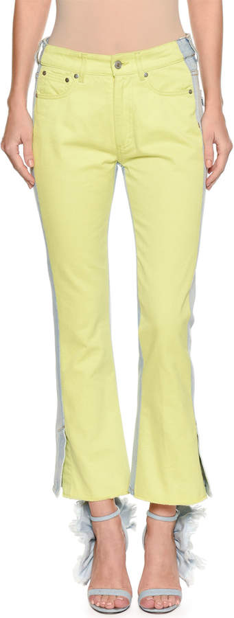 Msgm Two-Tone Flared-Leg Cropped Jeans