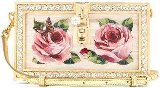 Hand-painted rose crystal-embellished clutch