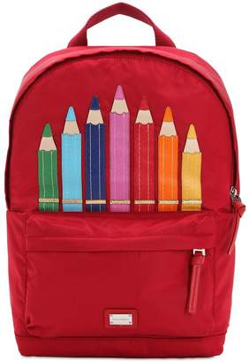 Dolce & Gabbana Color Pencils Nylon Canvas Backpack