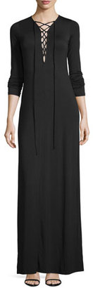 Rachel Pally Jolene Long-Sleeve Lace-Up Maxi Dress, Black $251 thestylecure.com