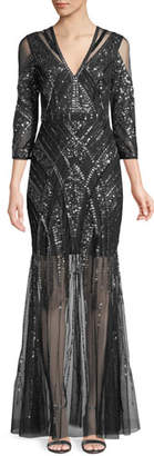 Aidan Mattox Beaded V-Neck Gown w/ Illusion Skirt