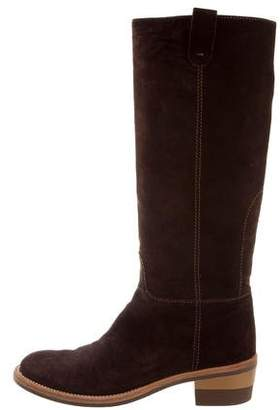 Helmut Lang Suede Knee-High Boots