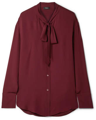 Theory Weekender Pussy-bow Silk-georgette Blouse - Claret