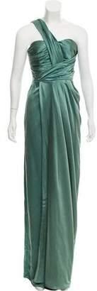 Lela Rose One-Shoulder Ruched Accent Evening Dress