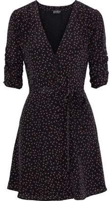 Nicholas Ruched Floral-print Silk Crepe De Chine Mini Dress