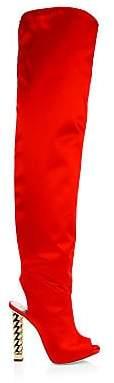 Giuseppe Zanotti Women's Giuseppe for Rita Ora Satin Peep Toe Knee-High Slouch Boots