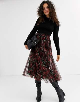 Stradivarius printed tulle skirt in flower print