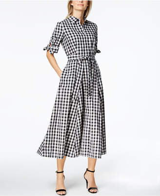 Calvin Klein Cotton Gingham-Print Midi Shirtdress