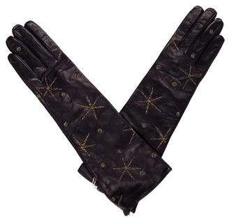 Valentino Embroidered Leather Gloves