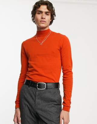 Asos Design DESIGN cotton turtle neck jumper in burnt orange