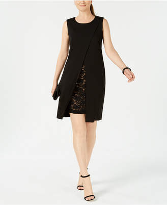Connected Lace-Trim Envelope Sheath Dress