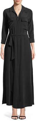 L'Agence Cameron Long-Sleeve Belted Silk Shirtdress
