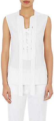 Derek Lam Women's Poplin Lace-Up Top-WHITE $695 thestylecure.com