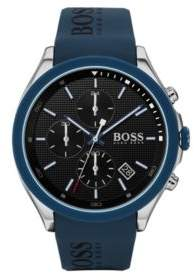 BOSS Stainless-steel chronograph watch with blue logo strap