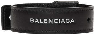 Balenciaga Black Leather Party Bracelet