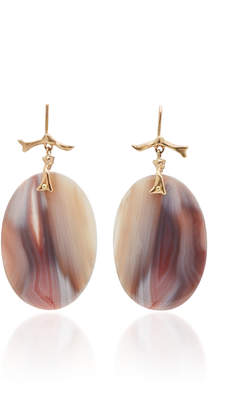 Annette Ferdinandsen M'O Exclusive: One-Of-A-Kind Pink Banded Agate Branch Earrings