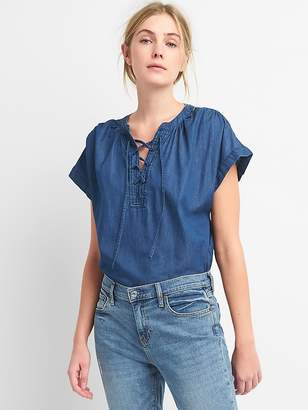 Gap Short Sleeve Lace-Up Denim Shirt