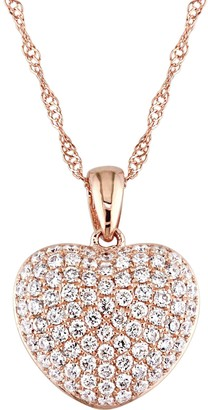 Affinity Diamond Jewelry Affinity 14K Rose Gold 1/2 cttw Diamond Heart Pendant w/ Chain
