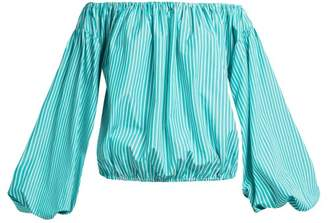 Caroline Constas Andros Off The Shoulder Striped Top - Womens - Light Blue