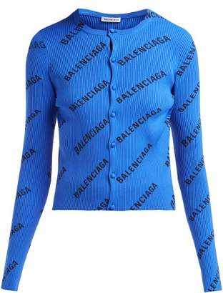 Balenciaga Diagonal Logo Print Ribbed Cardigan - Womens - Black Blue